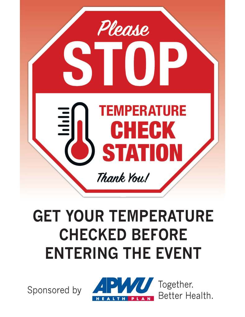 Temperature Check Station Sign, APWU Corporate Logo